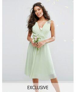 TFNC | Плиссированное Платье Миди С Декорированными Плечами Wedding