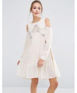 Dark Pink | Платье С Асимметричным Подолом И Открытыми Плечами