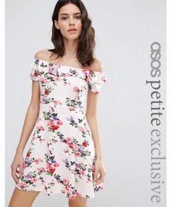 ASOS PETITE | Приталенное Платье С Открытыми Плечами И Цветочным Принтом
