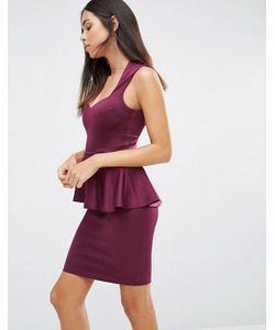 AX Paris   Платье Мини С Глубоким Вырезом Спереди И Баской