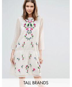 Y.A.S Tall   Платье Из Сеточки В Горошек С Цветочной Вышивкой Molia