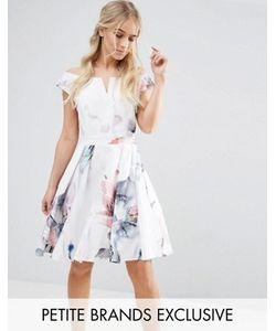 Little Mistress Petite | Платье Мини Для Выпускного Со Спущенными Плечами И Цветочным Принтом Little