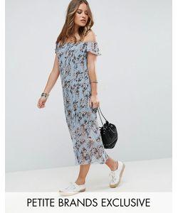 Glamorous Petite | Плиссированное Платье Макси С Открытыми Плечами И Цветочным Принтом