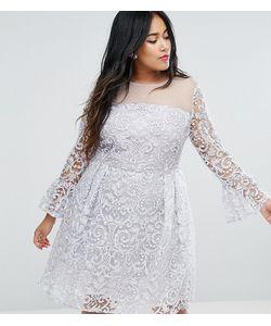 Truly You | Приталенное Платье Миди С Вышивкой И Рукавами-Клеш