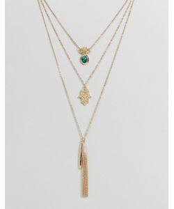 Ashiana | Многослойное Ожерелье С Подвеской Хамса