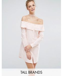 Fashion Union Tall | Платье-Рубашка Со Спущенными Плечами И Пуговицами