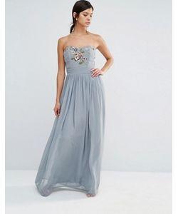 Maya | Платье Макси В Стиле Бандо С Вышивкой