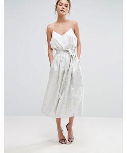 Closet London   Paper Bag Waist Jacquard Midi Skirt