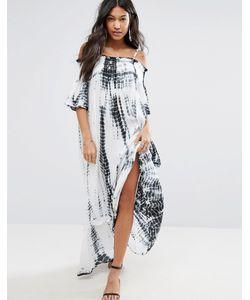 Anmol | Пляжное Платье Макси С Открытыми Плечами И Принтом Тай-Дай