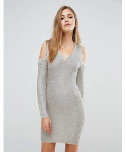 WOW Couture | Платье-Свитер С Эффектом Металлик И Длинными Рукавами