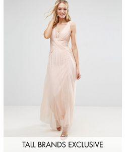 Little Mistress Tall | Плиссированное Платье Макси С Запахом И Кружевной Отделкой
