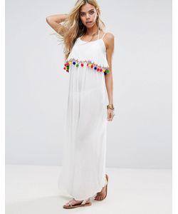 boohoo | Пляжное Платье Макси С Помпонами
