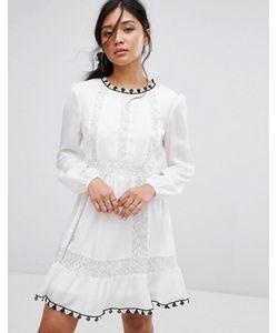 boohoo | Платье С Вышивкой И Кружевной Вставкой