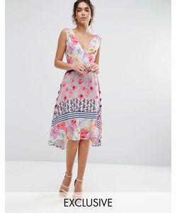 Every Cloud   Платье Миди С Цветочным Принтом И Асимметричным Подолом