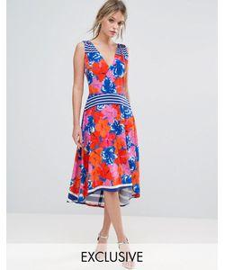 Every Cloud | Платье Миди С Цветочным Принтом И Асимметричным Подолом