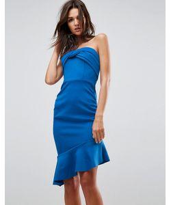 Asos | Присборенное Платье Бандо Миди С Оборкой На Подоле