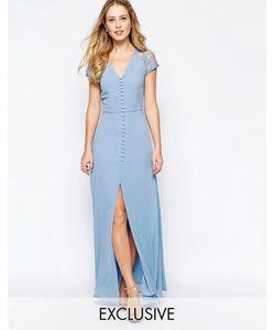 JARLO | Платье Макси С Застежкой На Пуговицы И Кружевной Отделкой На Плечах