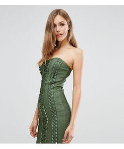 WOW Couture | Бандажное Платье С Вырезом Сердечком И Декоративной Шнуровкой