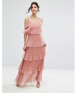 True Decadence | Ярусное Плиссированное Платье Макси С Открытыми Плечами