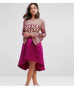 Maya Petite   Платье Миди С Декорированным Верхом И Асимметричной Юбкой