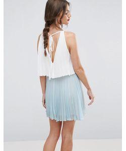 Asos | Ярусное Плиссированное Платье Мини В Стиле Колор Блок
