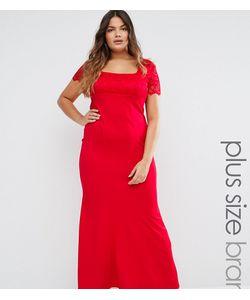 Goddiva plus   Платье Макси С Кружевными Рукавами