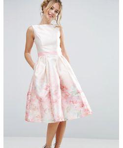 Chi Chi London   Атласное Платье Миди 2 В 1 С Принтом