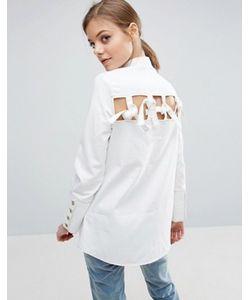 Asos   Джинсовая Рубашка С Декоративными Завязками Сзади