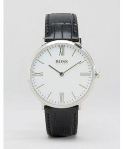 BOSS | Часы С Черным Кожаным Ремешком И Белым Циферблатом By Hugo