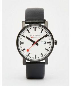 Mondaine | Часы С Датой И Черным Кожаным Ремешком 40 Мм