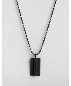 Chained & Able | Черное Матовое Ожерелье С Солдатским Жетоном С Логотипом