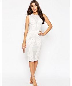Asos | Облегающее Платье Миди С Кружевной Вставкой Premium