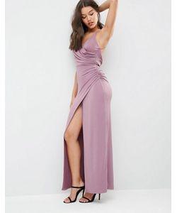 Asos   Платье Макси С Высоким Разрезом И Драпировкой
