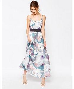Uttam Boutique | Платье Макси С Контрастной Талией Cherry Blossom