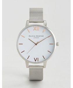 Olivia Burton   Серебристые Часы С Белым Большим Циферблатом И Сетчатым Ремешком