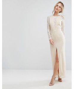 Elise Ryan | Кружевное Платье Макси С Разрезом И V-Образным Вырезом