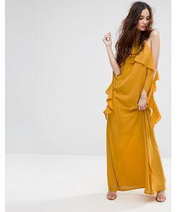 MISSGUIDED | Платье Макси С Открытыми Плечами И Оборками На Рукавах