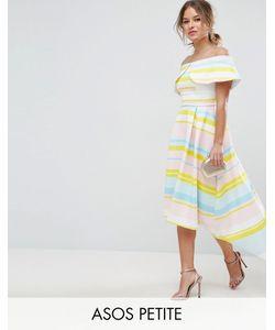 ASOS PETITE | Платье В Яркую Полоску С Широким Отворотом