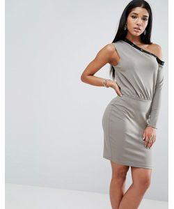 Asos | Платье Мини На Одно Плечо С Отделкой Заклепками