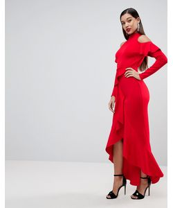 Asos | Платье Макси С Крупными Оборками И Открытой Спиной