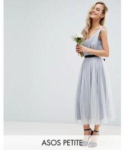 ASOS PETITE | Сетчатое Платье Миди С Ленточным Поясом Wedding