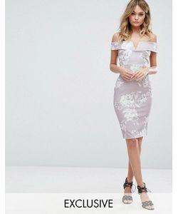 MISSGUIDED | Платье Миди С Открытыми Плечами И Цветочным Принтом