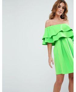 Asos   Платье Мини С Открытыми Плечами И Оборками