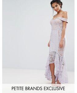 Jarlo Petite | Кружевное Платье С Открытыми Плечами И Асимметричным Подолом