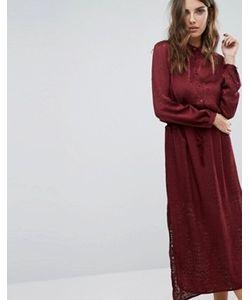 Sisley | Платье Макси С Выжженным Узором И Поясом На Талии