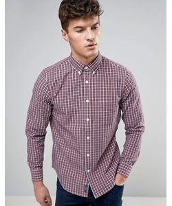 Abercrombie and Fitch | Красно-Синяяя Облегающая Оксфордская Рубашка В Клеточку С Карманом Abercrombie Fitch
