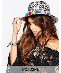 Catarzi | Черно-Белая Соломенная Шляпа С Помпонами