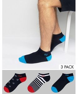 Pringle | Invisible Socks In 3 Pack With Ancor And Stripe Print