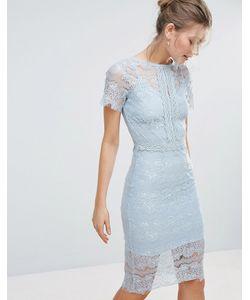 Body Frock | Облегающее Кружевное Платье Миди С Короткими Рукавами Bodyfrock