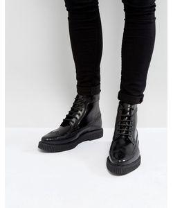 Asos | Черные Кожаные Ботинки Броги С Толстой Подошвой